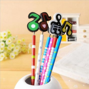 N09 3X Adorable Music Design Wooden Pencil School Office Supply Student Stationery Writing Drawing Standard Pencil