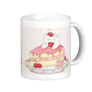 Kawaii Whipped Cream Kitty & Cherry Cake