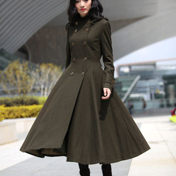 Army Green Coat Big Sweep Double breasted Hoodie Wool Coat Winter Coat Long Jacket Tunic / Fast Shipping - NC500