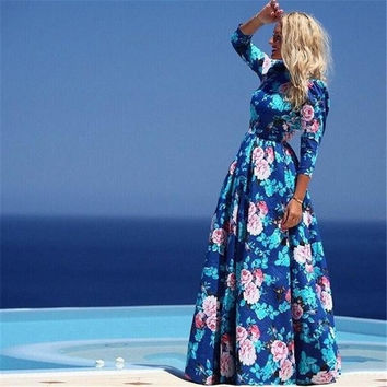 Women Long Sleeve Floral print Elegant Bohemian Maxi Gown Dress S M L Xl_trq