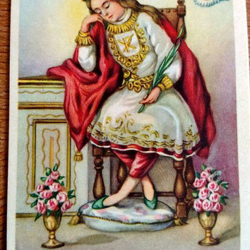 Italian Prayer Card / Saint Pellegrino / Vintage / Patron Saint of Cancer / Gift for sick person