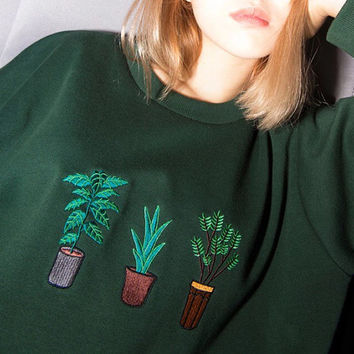 Hand embroidered plant jumper top warm wooly long sleeve tee crew neck crop cuff sport