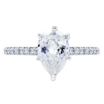 **NEW Pear Crushed Ice Moissanite 6 Prongs Diamond Accent Ice Solitaire Ring