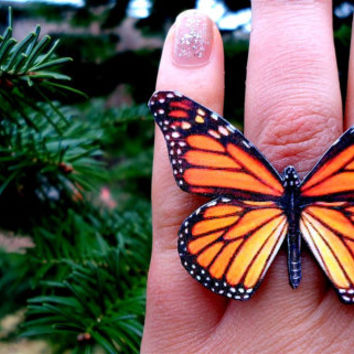 Monarch butterfly ring, Butterfly Jewelry, Butterfly wing ring, Spring jewelry, Insect jewelry, Butterfly ring, Free Shipping Worldwide