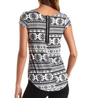 ZIP-BACK PRINTED HIGH-LOW TOP