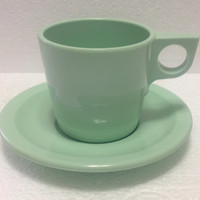 Vintage Dallas Ware Melamine Seafoam Free Cup and Saucer Set
