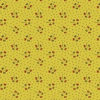 Windham Fabrics, New Colonies, 35280/4   100% cotton quilt fabric   1/2 yard    Mustard Yellow with small red floral print