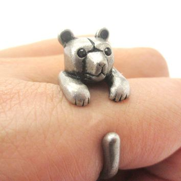 3D Baby Polar Bear Wrapped Around Your Finger Shaped Animal Ring in Silver | US Size 4 to 8.5