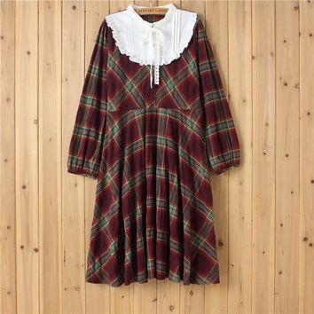 Japanese Mori Girl Vintage Hippie Retro Crochet Embroidery Patchwork Plaid Lolita Sweet Women Autumn Loose Long Sleeve Dress