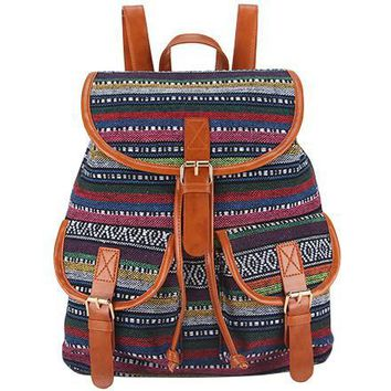 Tribal Print Vintage Rucksack  Canvas Women Backpack School Bag