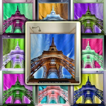 Eiffel Tower Paris shower curtain bathroom decor fabric kids bath window curtains panels valance bathmat