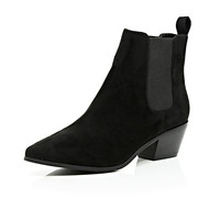 River Island Womens Black faux suede pointed toe Chelsea boots