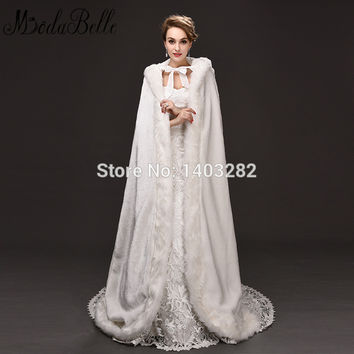 New 2017 Long Plus Size Faux Fur Wedding Cape Bridal Hooded Fur Cloak Winter White Coat Floor Length Bolero Wedding Jackets Wrap