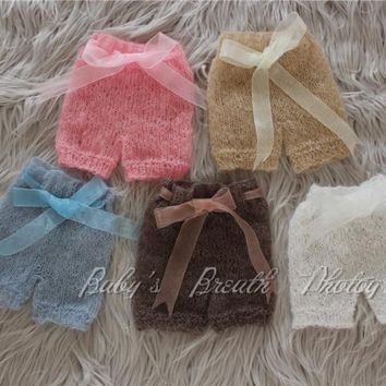 Newborn Photography Prop Newborn Mohair Pants with Ribbons
