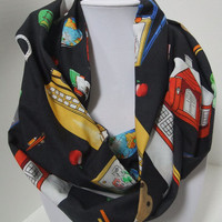 Infinity Scarf - made with school themed fabric