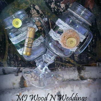 Camo Hillbilly Wineglasses, his is very manly with a shotgun shell and hers with a burlap flower!