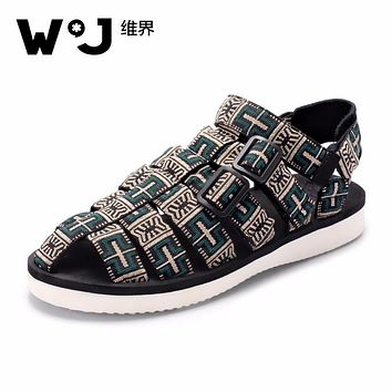 WJ Summer Cotton Fabric Breathable Casual Rome Sewing Printed Cross Tied Low Heel Flat Men's Sandals