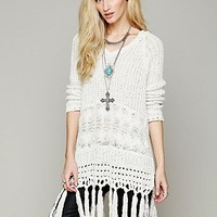 Free People Hooded Fringe Pullover