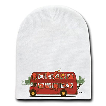 'Red Trip In London' Character in Double Decker Bus - White Beanie Skull Cap/Hat