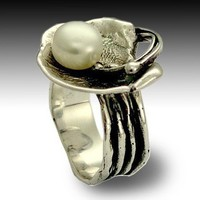 Sterling silver ring inlaid fresh water pearl Let by artisanlook