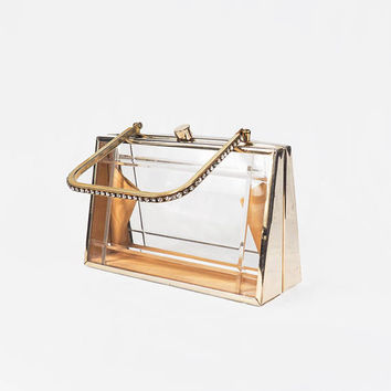 1950s Tyrolean Clear Lucite Handbag with Brass Frame and Rhinestone Handle, Gold Evening Bag, Formal Purse, Vintage Lucite Box Bag