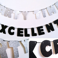 PARTY TIME / EXCELLENT Glitter Banner Wall Decoration Garland - Wayne's World - Sparkly Silver & Black