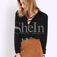 Brown High Waist Skirt -SheIn(Sheinside)