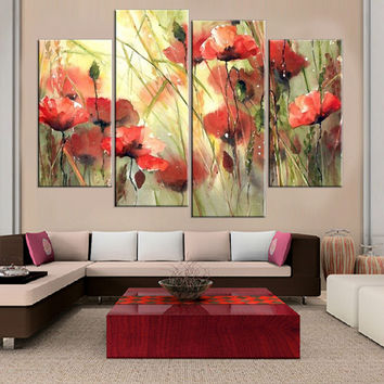 Frameless Flower Print on Canvas Wall Painting Art Print and Poster Home Decoration Oil Paingting Picture for Living Room 4pcs