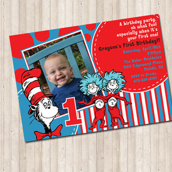 Cat In The Hat Invitation with picture (can do any age)