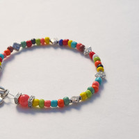 Multi color bracelet gift set, silver charm, wrap wire jewelry, beaded, gifts for her, laugh smile charms, colorful handmade, boho chic