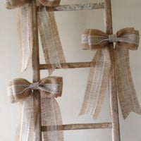 Burlap lace bowpew bow rustic shabby wedding by HiddenValleyHome
