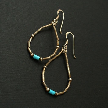 Vintage NATIVE American STERLING Silver TURQUOISE Earrings Liquid Silver Heishi Beads Pierced Ears Hallmarked c.1970's