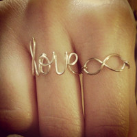 Infinity wire ring FREE SHIPPING silver or gold plated