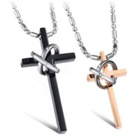 JewelryWe Fashion Stainless Steel Prayer Cross Ring Couples Pendant Necklace Mens Black / Ladies Golden Color (a pair)