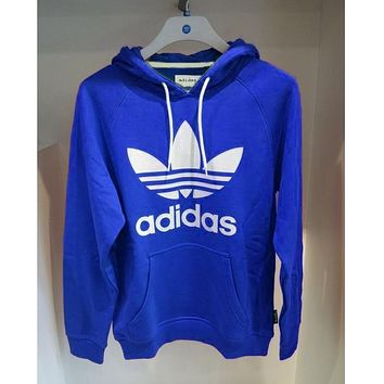 ADIDAS BLUE HOODIE FASHION WOMEN MEN LONG SLEEVE SWEATER TOP