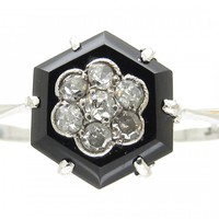 Art Deco Hexagonal Onyx & Diamond Ring - The Antique Jewellery Company