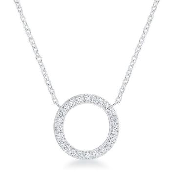 Clara CZ Circle Stainless Steel Pendant Necklace