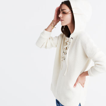 Lace-Up Hoodie Sweater :   Madewell