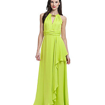 Belle Badgley Mischka Beaded Halter A-line Gown - Lime