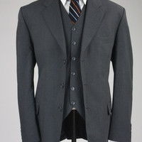 Al Baroni Charcoal Gray Wool 3 Piece Suit 44 R
