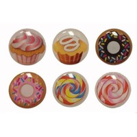 3D Semi-circular Cupcakes Cup Cake Muffins Sprinkled Donuts Lollipop Style 6 Pieces Home Button Stickers for iPhone 5 4/4s 3GS 3G, iPad 2, iPad Mini, iTouch