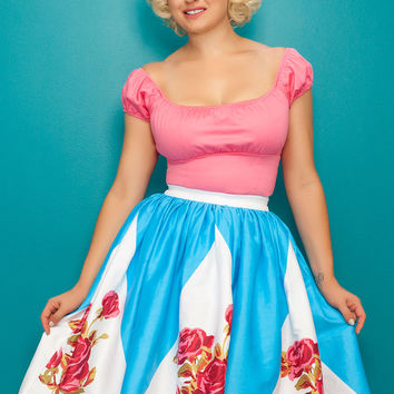 OYS Final Sale - Pinup Couture Jenny Skirt in Rose Border Print
