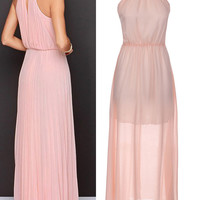 'The Maria Paula' Pink Halter Sleeveless Chiffon Maxi Dress