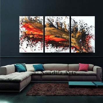 "Dragon's Breath Abstract Painting on Canvas, 72"" Acrylic Red Orange Home Decor Luxury Style Modern Wall Art Handmade Unique Contemporary Art"