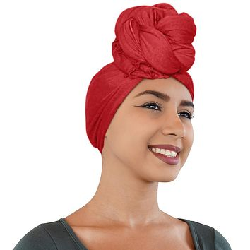 🎁 ONE DAY SALE Novarena Crimson Red Solid Color Head Wrap Stretch Long Hair Scarf Turban Tie Kente African Hat Jersey Knit Headwrap