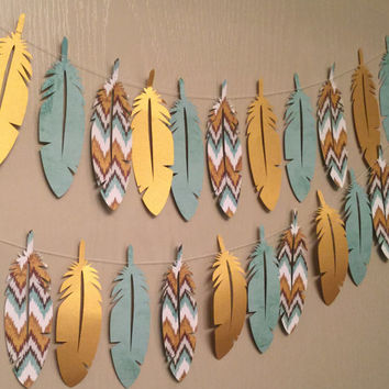 1 Rustic Turquoise Gold Double Sided Chevron Shabby Chic Paper Feather Garland for Weddings, Parties, Home Decoration