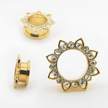 fashion gold color stainelss steel lotus crystal ear plugs tunnels piercing body jewelry gauges body jewelry sell by pair