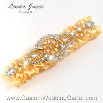 Yellow and Gold Vintage Wedding Garter Rhinestone 614 Chamois Yellow Custom Luxury Prom Garter Plus Size & Queen Size Available