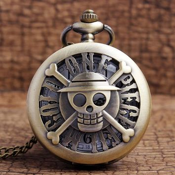 Free Shipping ONE PIECE Retro Pocket Watch Straw Hat Skull FILM GOLD Cosplay Watch with Necklace Vintage Pocket Watches Mens