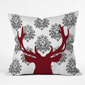 Natt Deer Damask White Outdoor Throw Pillow